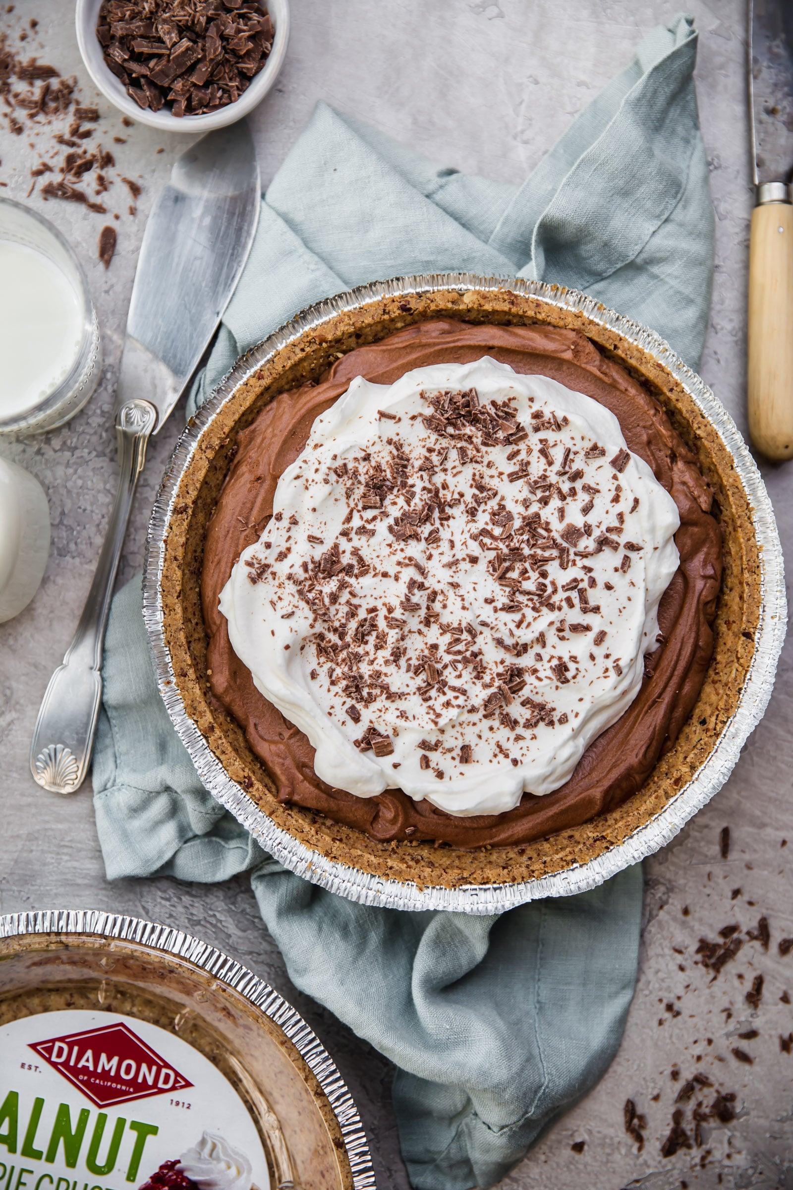 No-Bake Chocolate Mousse Pie with Walnut Pie Crust