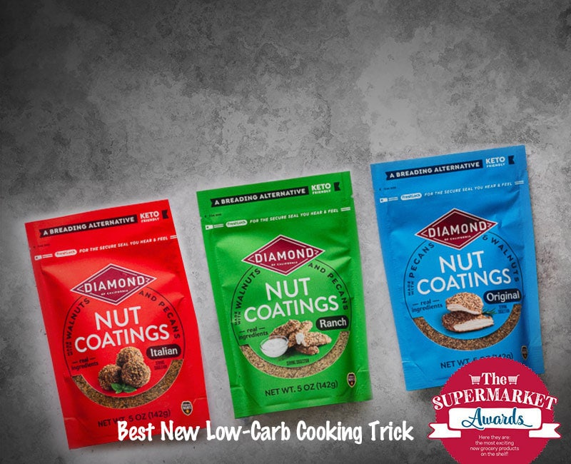 Bags of Diamond Nut Coatings showing their award for best new low-carb cooking trick by Food Network
