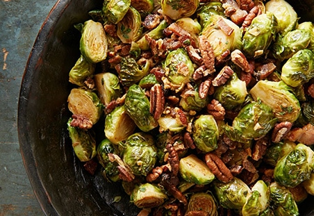 Roasted Brussels Sprouts with Pecans and Bacon